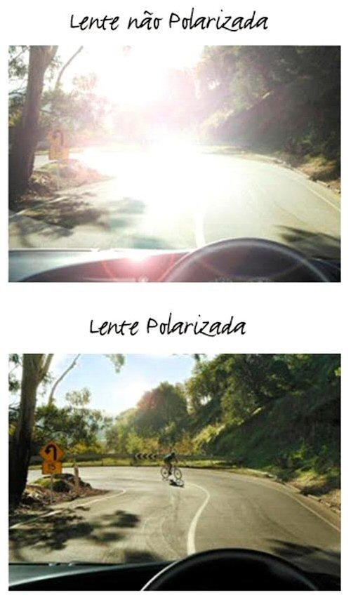 f92ec18a288b7 Compreender o efeito da lente polarizada no cotidiano é muito simples  a  diferença ao dirigir é enorme. Para quem dirige com frequência a opção vai  muito ...
