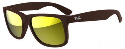 3e05485ae8dde Modelo  Justin marrom (RB4165L 61757D). Descrição  Esse óculos tem armação  soft touch marrom com lentes amarelas espelhada.
